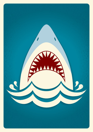 big mouth: Shark jaws.Vector blue background illustration for text