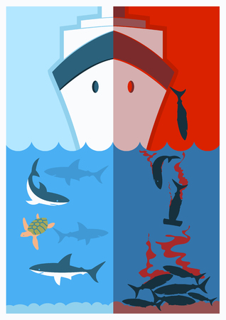 poaching: Stop shark finning.Vector color illustration with poaching vessel and killed shars