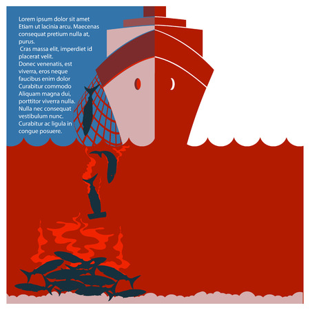 Stop shark finning and safe nature.Vector red flyer for design Illustration
