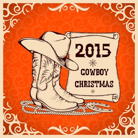botas de navidad: Año Nuevo occidental con vaquero tarjeta de felicitación clothes.Vector tradicional