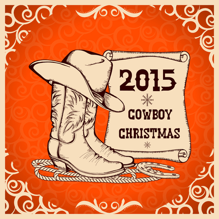 Western New Year with cowboy traditional clothes.Vector greeting card Illustration