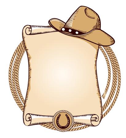 country western: Chapeau de cow-boy et lasso.Vector fond am�ricain pour le texte Illustration