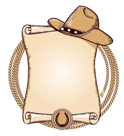 Cowboy hat and lasso.Vector American background for text Çizim