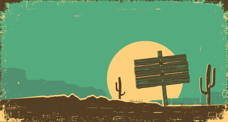 Western desert landscape background.Vector illustration on old paper texture Çizim