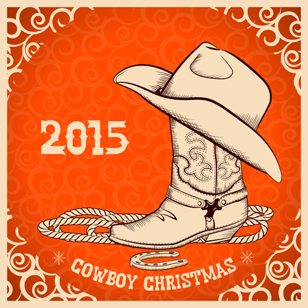 Western New Year with cowboy boot and hat.Vector greeting card