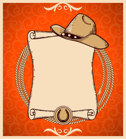 Western New Year Rodeo card.Vector greeting card with scroll background and text Vettoriali