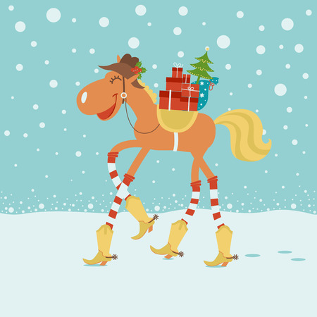 Christmas card with horse in cowboy hat and boots in winter background.Vector funny illustration Vector