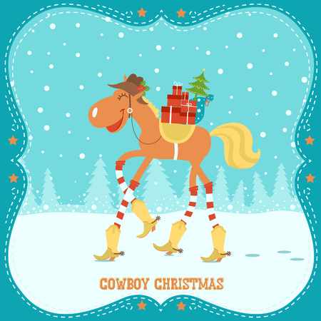 Christmas card with horse in cowboy hat and boots with western decorative frame Vector