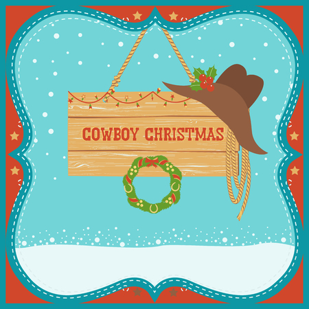Cowboy Christmas card with western hat and board for text on winter background.Vector illustration