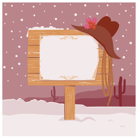 wood board: Cowboy Christmas background with wood board and paper for text Illustration