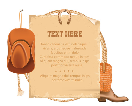 Wild West Poster with cowboy objects.Vector background for text isolated on white Vector