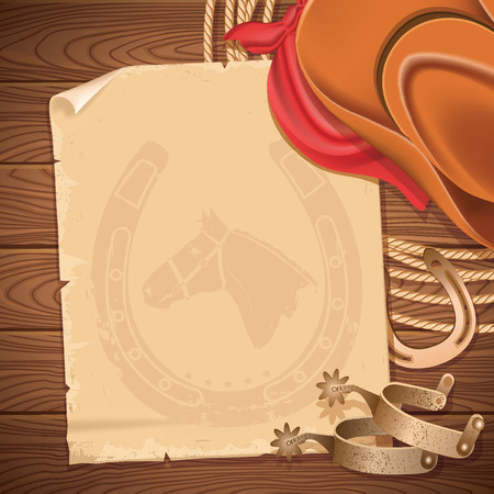 accessories horse: Wild west background with cowboy hat and american lasso.Vector old paper for text on wood table Illustration