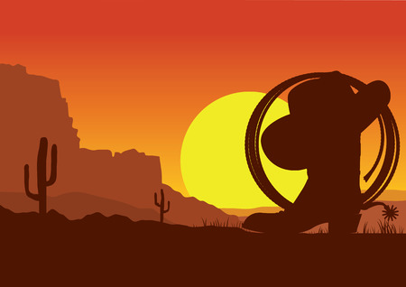 American wild west desert with cowboy boots and lasso.Vector sunset landscape