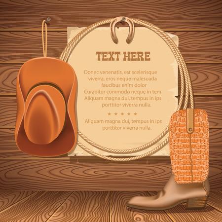 vaquero: Wild West Cartel con vaquero ilustraci�n objects.Vector para el texto