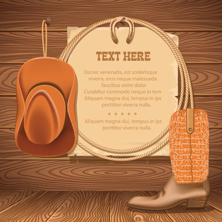 Wild West Poster with cowboy objects.Vector illustration for text