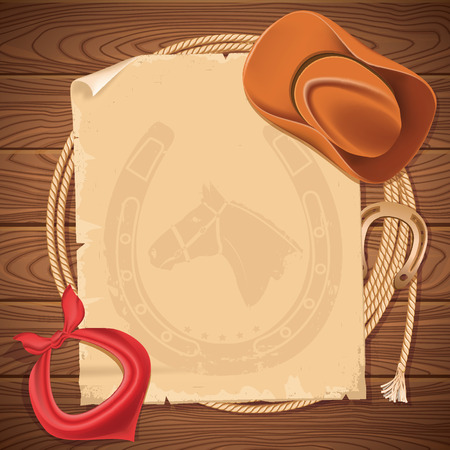 Wild west background with cowboy hat and american lasso.Vector old paper for text on wood texture Çizim