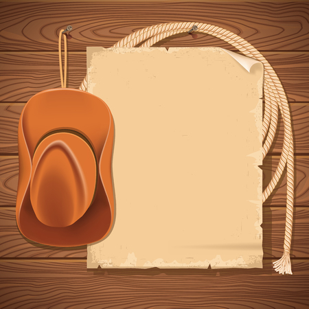 Wild west background with cowboy hat and american lasso.Vector old paper for text on wood wall