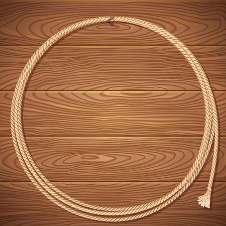 rodeo americano: Cuerda de lazo en antigua ilustraci�n background.Vector de madera para el dise�o