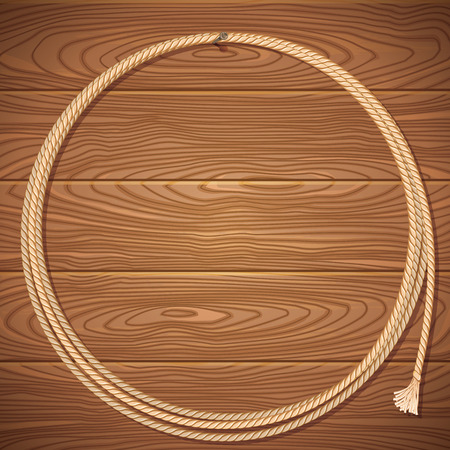 western: Rope lasso on old wood background.Vector illustration for design Illustration