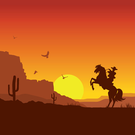American wild west desert with cowboy on horse.Vector sunset landscape Vettoriali
