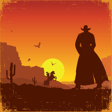 Wild West american poster.Vector western illustration with cowboys Çizim