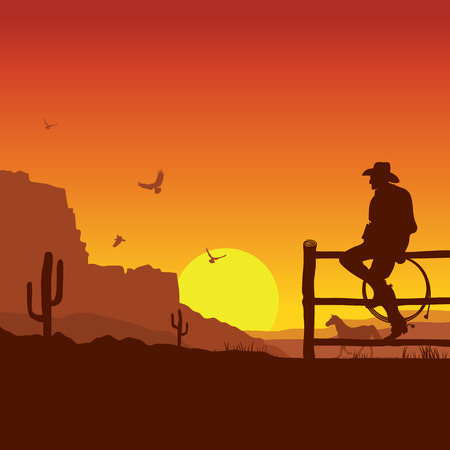 rancho: Cowboy Americana sobre paisaje salvaje oeste puesta de sol en la ilustración evening.Vector