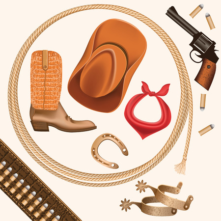 spurs: set of wild west cowboy objects isolated on white for design