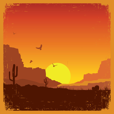 desert sun: American wild west desert on old paper texture.Vector sunset landscape