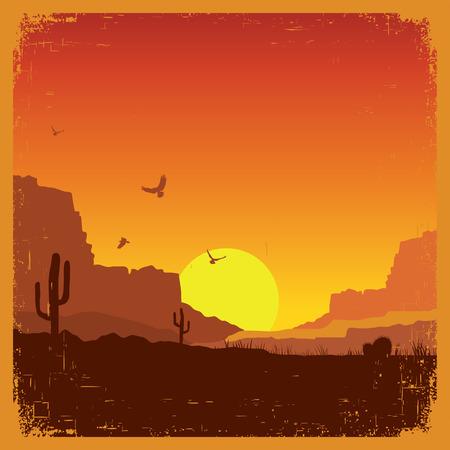 Americano deserto selvaggio ovest sulla vecchia carta Struttura alla tramonto del paesaggio Archivio Fotografico - 35642738
