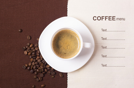for text: Black coffee in white cup with beansCoffee menu background for text Stock Photo