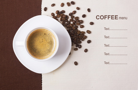 Black coffee in white cup.Coffee menu background for text photo