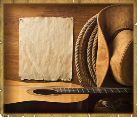 American cowboy Country music background with old paper texture for text 스톡 콘텐츠