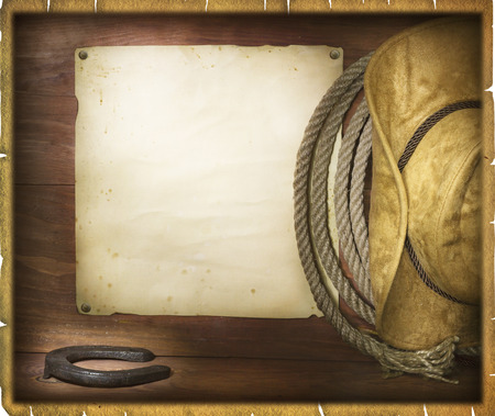 ranches: Cowboy American rodeo background with old paper for text