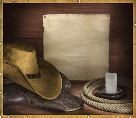 Rodeo background with cowboy objects and old paper for text or design