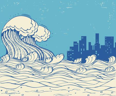 津波と大都市。古い紙テクスチャ上の巨大な波のポスター