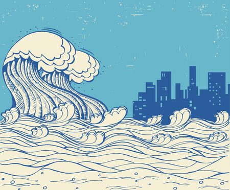 Tsunami and big city.Huge waves poster on old paper texture