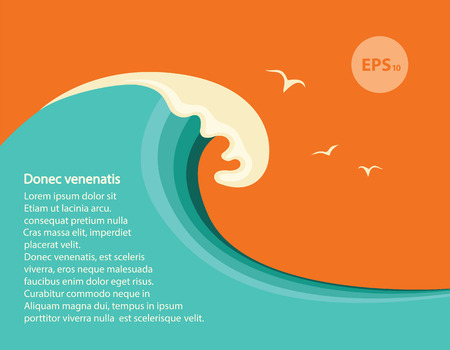 retro illustration: Big blue wave.Vector seascape illustration for design or text Illustration