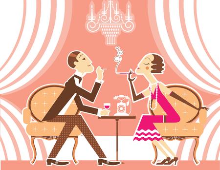 flapper: Pareja hombre vintage y chica de la aleta con cigarrillos hablando en ilustración room.Vector de fiesta retro Vectores
