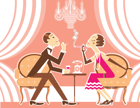 party drinks: Vintage couple man and Flapper girl with cigarettes talking in room.Vector illustration of retro party