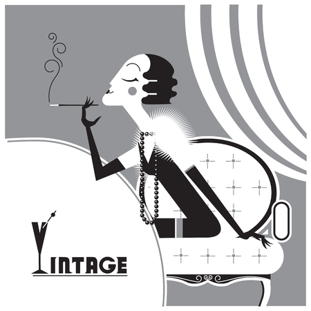cigaret: Retro Flapper girl with sigaret in room.Vector black graphic illustration background Illustration