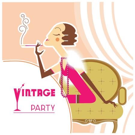 flapper: Chica de la aleta del retro en fiesta de la vendimia con sigaret en room.Vector ilustración de fondo