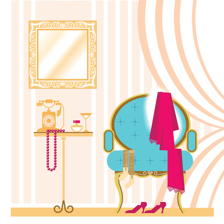 dressing room: Vector ladies dressing room.Vintage interior background with woman accessories