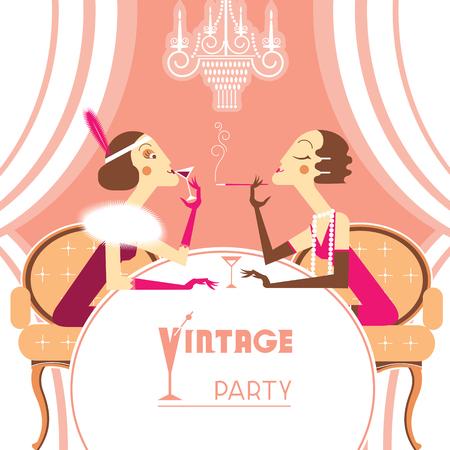 flapper: Niñas aleta del vintage que hablan en ilustración retro room.Vector fondo