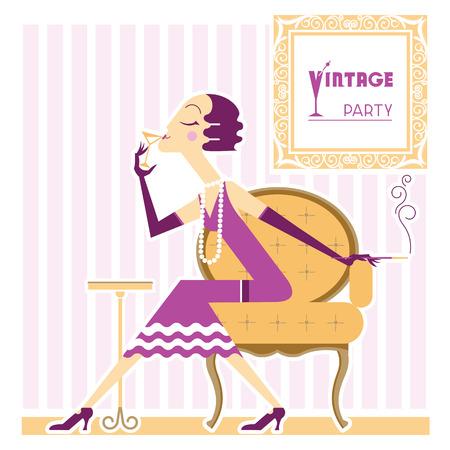 cigaret: Flapper girl with cigaret on vintage party.Vector illustration
