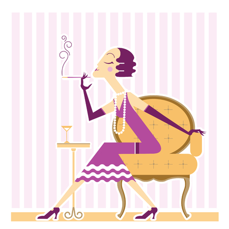 cigaret: Flapper girl with cigaret in room.Vector illustration Illustration