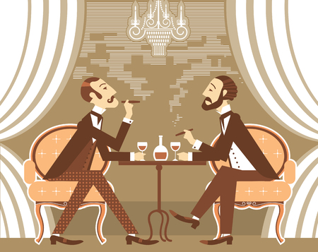 gentleman: Gentlemen smoking cigares and sitting in tobacco smoke.Vector vintage gentlemans club