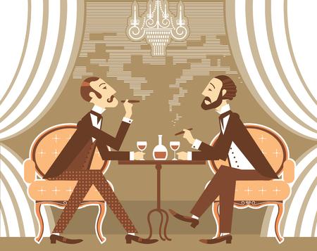 Gentlemen smoking cigares and sitting in tobacco smoke.Vector vintage gentlemans club