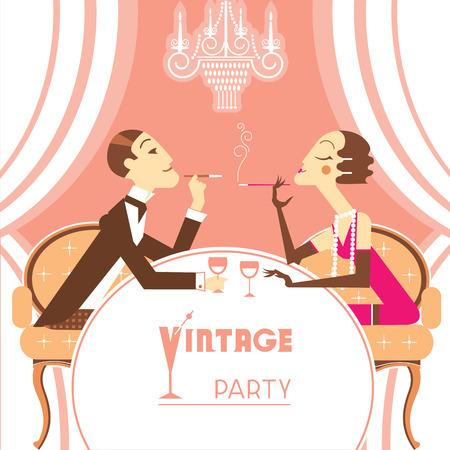 flapper: Ilustración retro del partido con la chica flapper lovers.Beautiful pareja y el hombre elegante sentado y hablando en el fondo de la tabla