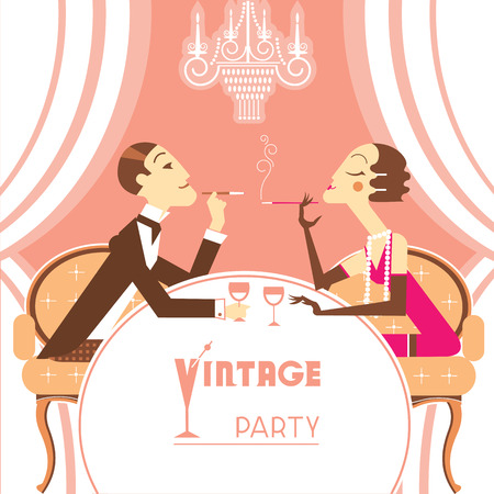 flapper: Retro party illustration with couple lovers.Beautiful flapper girl and elegant man sitting and talking at the table background