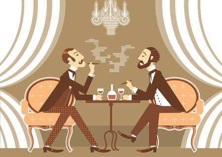 Gentlemen talking and drinking in club.Vintage illustration of retro club Vector